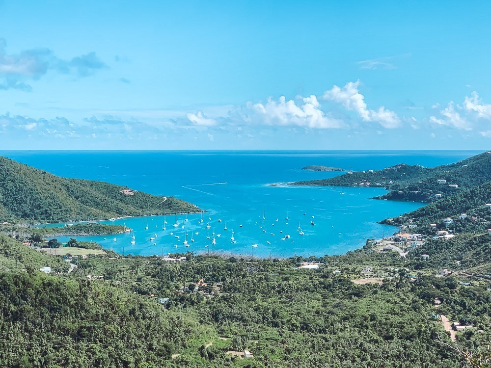 Lush and rugged Coral Bay marina from Centerline Road on St John