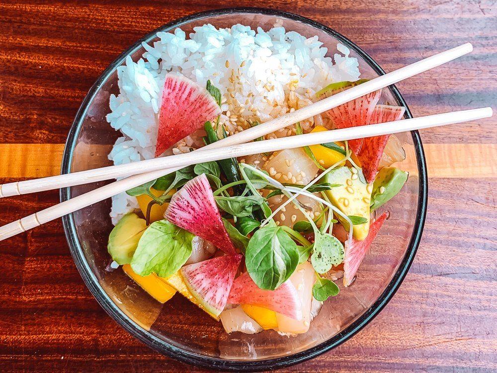 delicious ahi tuna bowl at the longboard in cruz bay on st john