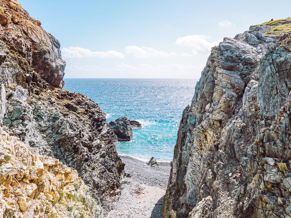 rocky coast along ram head trail in virgin islands national park