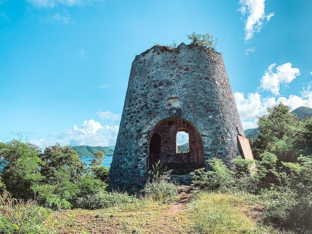 windmill ruin at the top of Peace Hill hike in Virgin Islands National Park