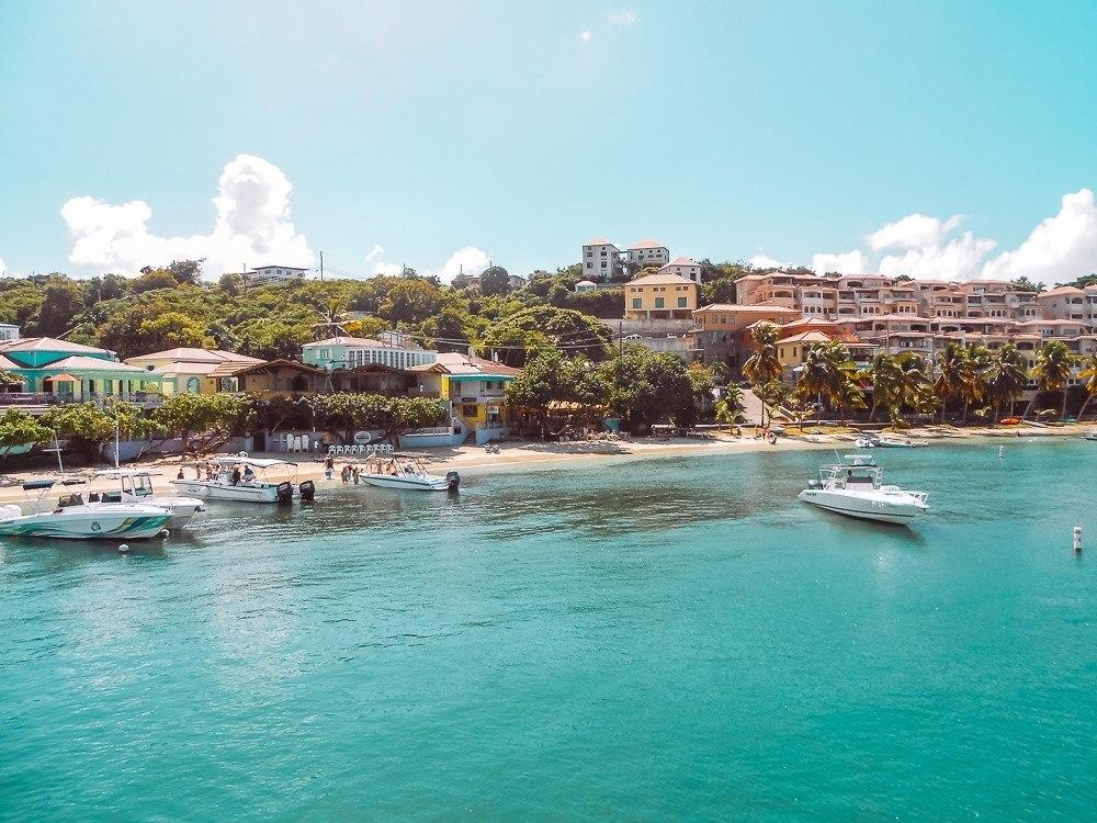 colorful restaurants and hotels along Cruz Bay in St John USVI