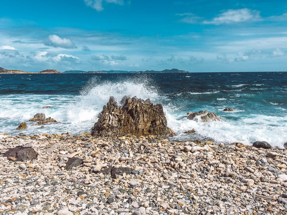 waves smashing up against rocks at Drunk Bay in Virgin Islands National Park