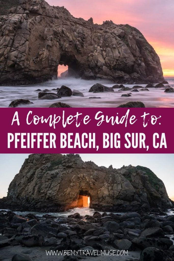A complete guide to Pfeiffer Beach, Big Sur, California, the land of the purple sand! See the best things to do at Pfeiffer Beach, how to get to Pfeiffer Beach, and quick tips on what to bring.