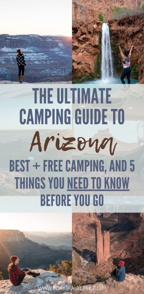 The ultimate guide to camping in Arizona: best + free camping across north-central Arizona (Page, Grand Canyon, Havasu), Northeast Arizona (Monument Valley Navajo, Canyon de Chelley), Eastern Arizona (Petrified Forest), Central Arizona (Sedona), and 5 things you must know before you go. #Arizona
