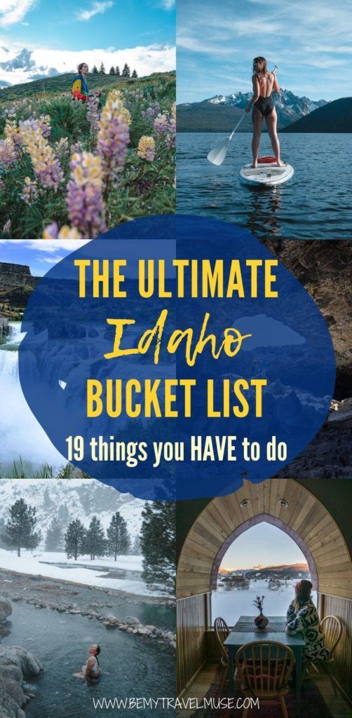The ultimate Idaho bucket list with 19 things you must do when in the area, including exploring Boise, Brunei Sand Dunes, Craters of the Moon, Kirkham hot springs and so much more. Use this bucket list to plan your Idaho itinerary! #Idaho