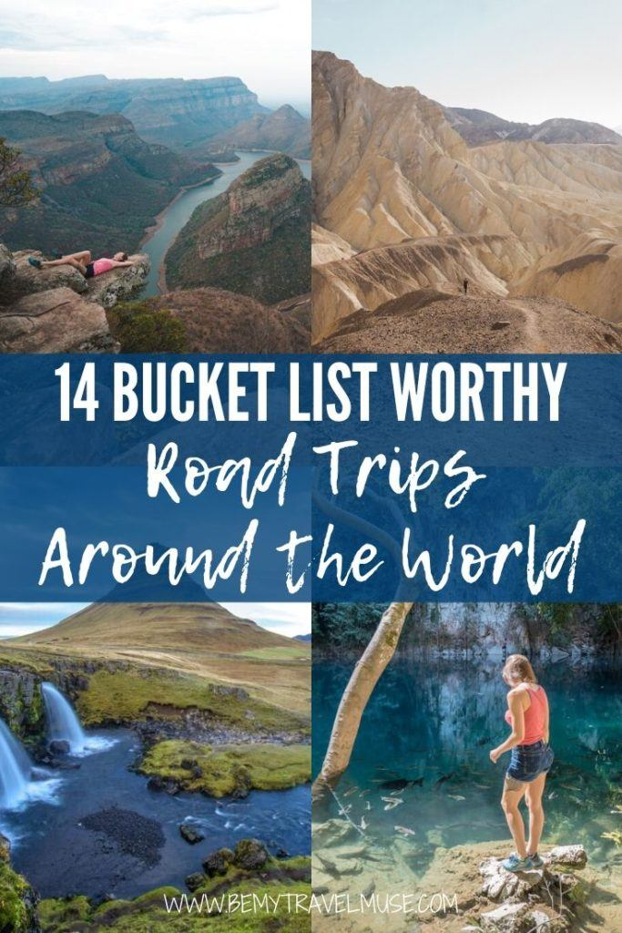 14 bucket list worthy road trips around the world to take alone or with your road trip buddies! Get road trip itineraries for the American Southwest, Pacific Coast Highway, California Deserts, South Africa, Chile, Iceland's Ring Road, Germany, New Zealand, Thailand, and so much more! #RoadTrip