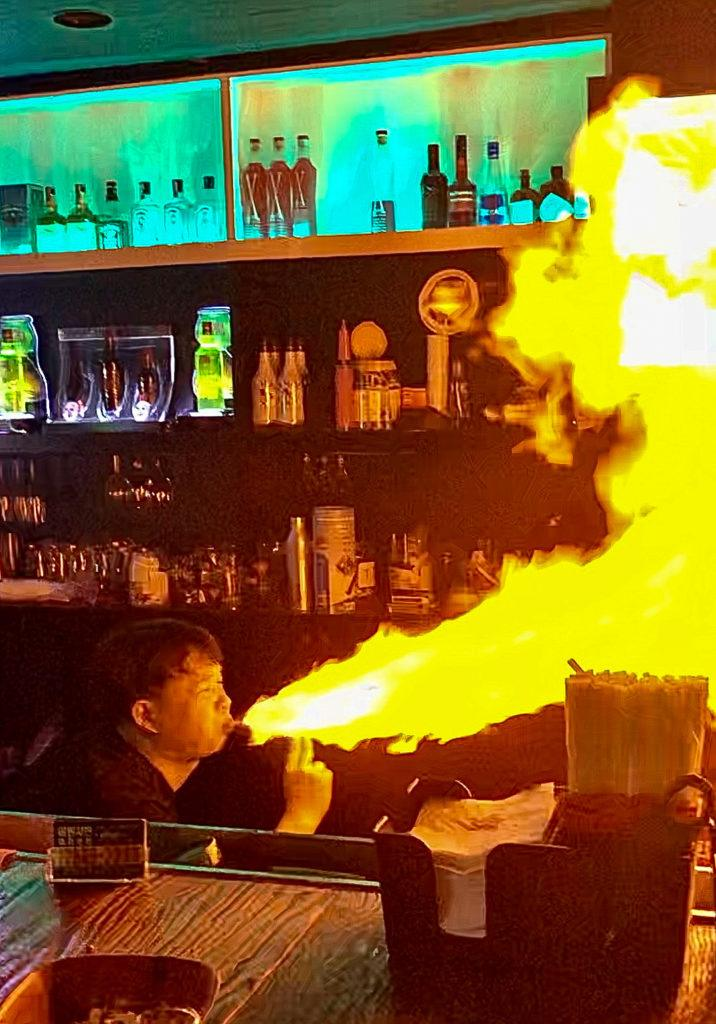 Bartender in South Korea performing a fire show