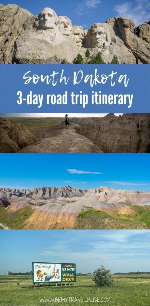 Here'a an awesome 3-day road trip itinerary for South Dakota, with all of the best stops along the way, best things to do, how to get there and around, and accommodation tips to help you plan the best trip to South Dakota #SouthDakota