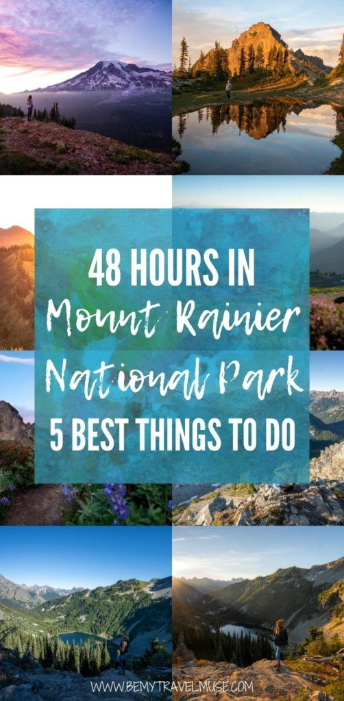 Planning an overnight trip in Mount Rainier National Park? Here are 5 awesome things to do, plus tips on the best time to visit Mount Rainier National Park, and where to stay when you are there. #MountRainier