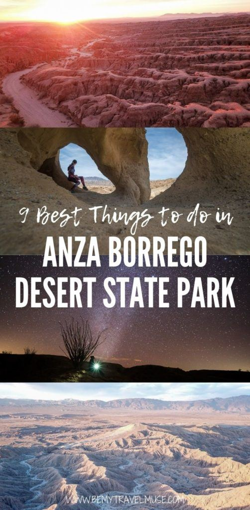 9 best things to do in Anza Borrego Desert State Park! Go stargazing and hiking, explore the Badlands and Wind Caves on a 4x4 and so much more. Get desert safety tips and plan your trip now! #AnzaBorrego