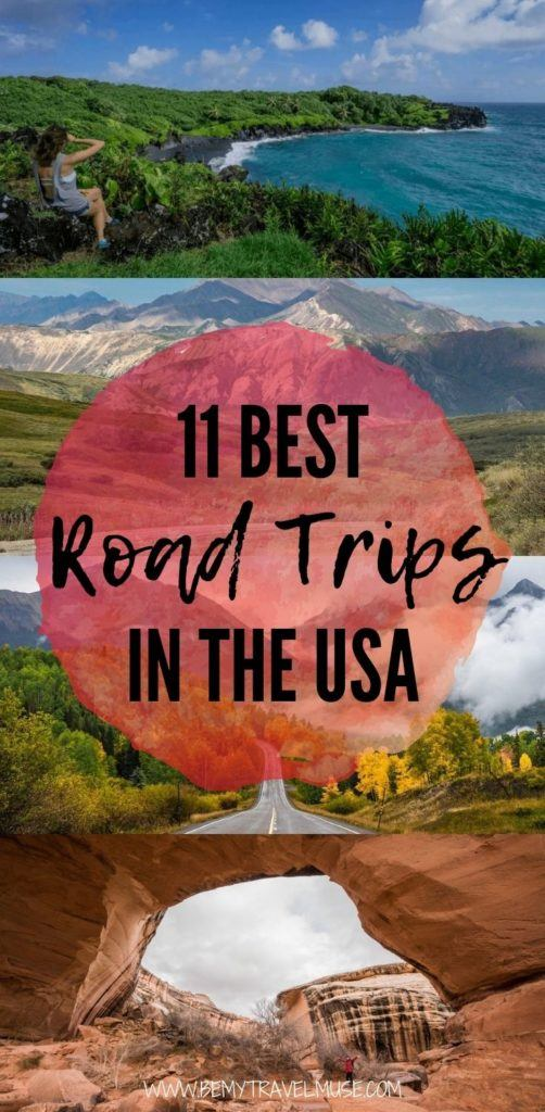 11 best road trips to take in the USA! What's on your road trip bucket list? Here are 11 road trip itineraries to inspire you, including Hawaii's Road to Hana, Utah's Big Five, Pacific Coast Highway, and more. #RoadTrips #USA