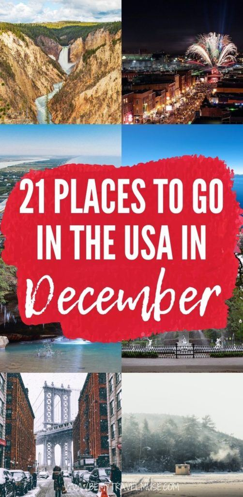 Here are 21 amazing places to go in the USA in December! From national parks to gorgeous snowy cities, this list will help you plan your winter holidays according to your travel style and preferences. If you are planning a local winter holiday, this list is perfect for you. #USA #December