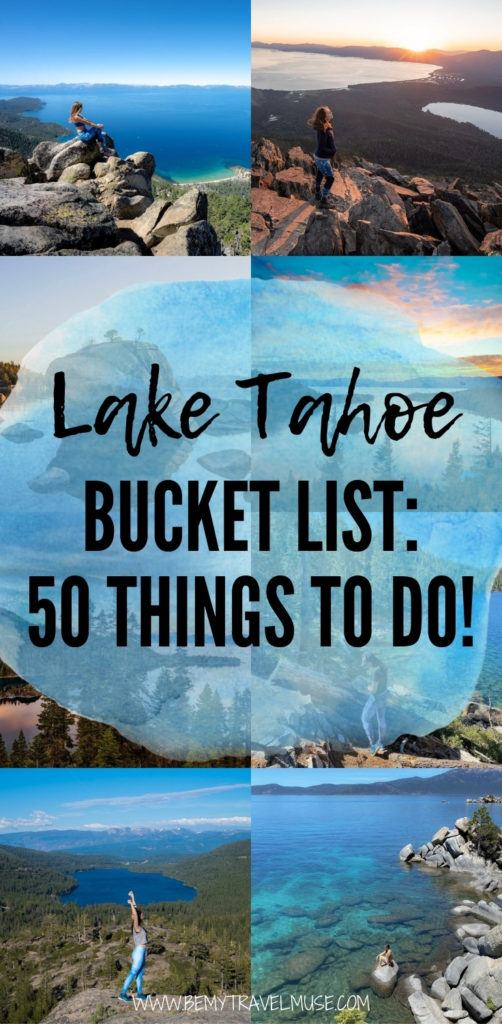What are the best things to do in Lake Tahoe, other than the beautiful lake itself? Hiking, biking, skiing, snowboarding, camping, and even scuba diving! Click to see the best Lake Tahoe Bucket List and start planning an awesome trip to Lake Tahoe soon! #LakeTahoe