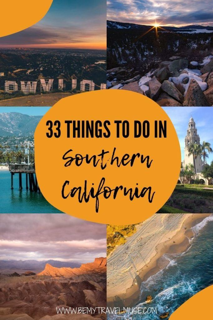 A Southern California bucket list, with 33 awesome things to do and places to see, according to a local. This list is organised by region: Santa Barbara, Los Angeles, Big Bear, Orange County, San Diego, plus the deserts. So whether you are planning an extensive trip across Southern California, or are just looking for things to do in specific regions, this list is perfect for you. #SouthernCalifornia