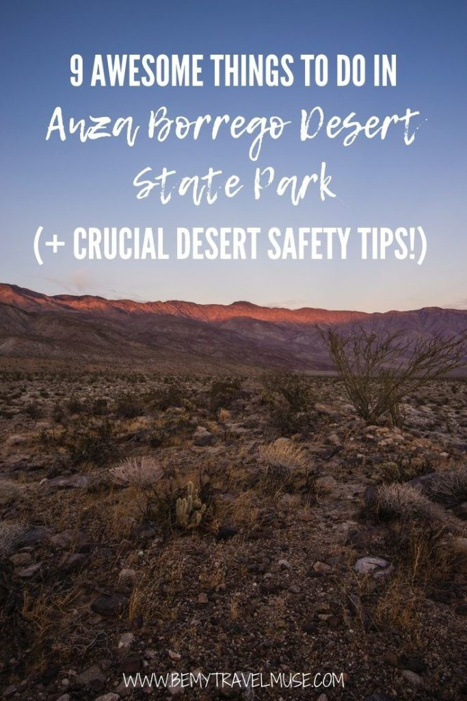 9 awesome outdoorsy things to do in Anza Borrego Desert State Park, plus crucial desert safety tips to get you well prepared for your trip. Explore Font's Point Sunrise, Wind Caves, and find out unique things to do, like stargazing and springtime blooms during different times of the year! #AnzaBorrego