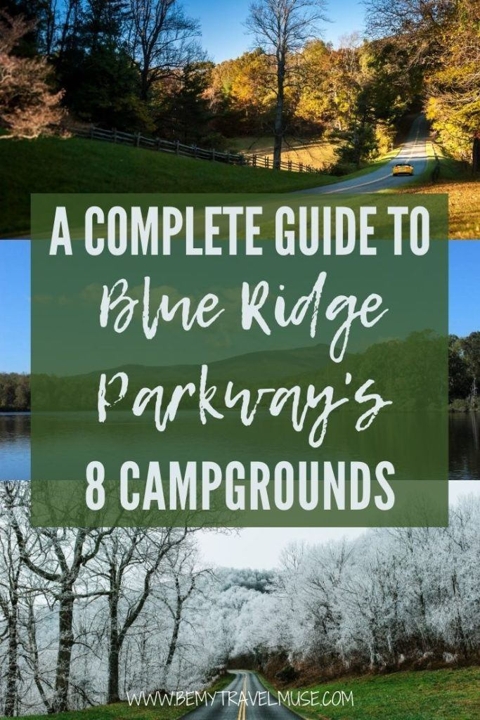 The ultimate Blue Ridge Parkway camping guide: complete information, insider tips and COVID info on all 8 campgrounds in the area, including Otter Creek Campground, Peaks of Otter Campground, Rocky Knob Campground, Doughton Park Campground, Julian Price Campground, Linville Falls Campground, Crabtree Falls Campground, and Mount Pisgah Campground. #BlueRidgeParkway #Virginia