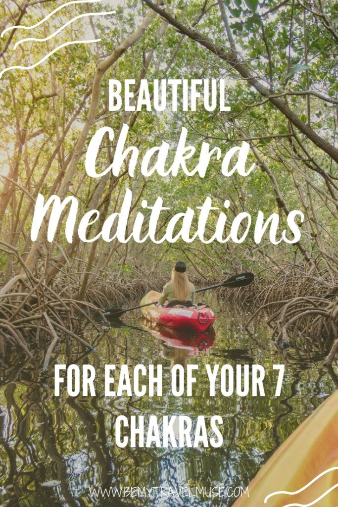 Practicing meditation? Here are a full list of guided meditations specially designed for each of your 7 chakras. Learn more about each chakra, what it means, how to balance and meditate to it. FREE 7-day meditation guide included! #ChakraMeditation #Meditation