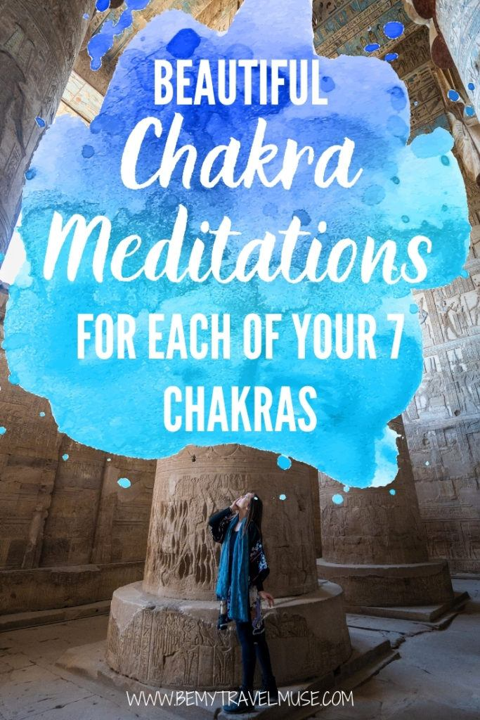 Beautiful guided chakra meditations for each of your 7 chakras: perfect for both beginners and long-time practitioners! These wonderfully curated meditations help rebalancing your energy centers, and help you feel safe, confident, and open. Click to see them now. #Meditation #Chakra