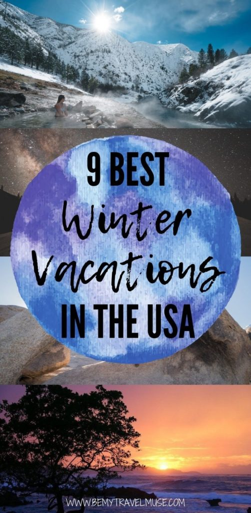 Planning a winter vacation in the USA? Here are 9 gorgeous trips that are perfect in wintertime. If you are craving for a warmer holiday, check out the California desert, Utah National Parks, Hawaii, and more. Want to see some snow? Idaho, Washington D.C. and more await. Click to see the best things to do and best places to see in each destination now. #USATravelTips #WinterTravel