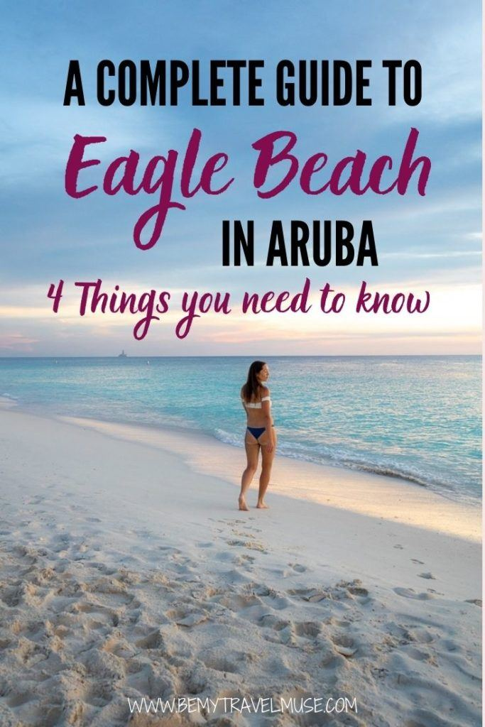 A complete guide to Eagle Beach in Aruba, with 4 key things you need to know: How to get to Eagle Beach, Why it's worth the visit to Eagle Beach, and Where to stay near Eagle Beach. use this guide to plan your holiday on Eagle Beach in Aruba! #EagleBeach #Aruba