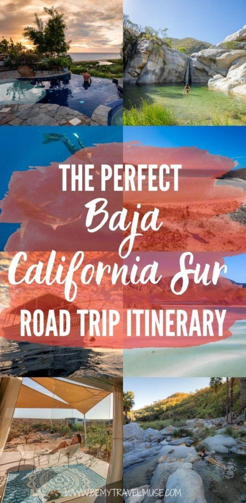 A wonderful Baja California Sur road trip itinerary! If you are planning a road trip to Mexico with gorgeous views, waterfalls and underwater activities, this itinerary is for you. See the best things to do and places to stay in Todos Santos, La Paz, La Ventana, Santiago, San Jose del Cabo and more.