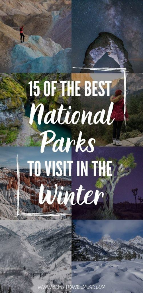 Which are the best national parks to visit in the winter? On this list you will find 15 amazing national parks that are probably great year-round, but extra whimsical in the winter. If you are planning an outdoor adventure this winter, this list is perfect for you. #Winter #USANationalPark