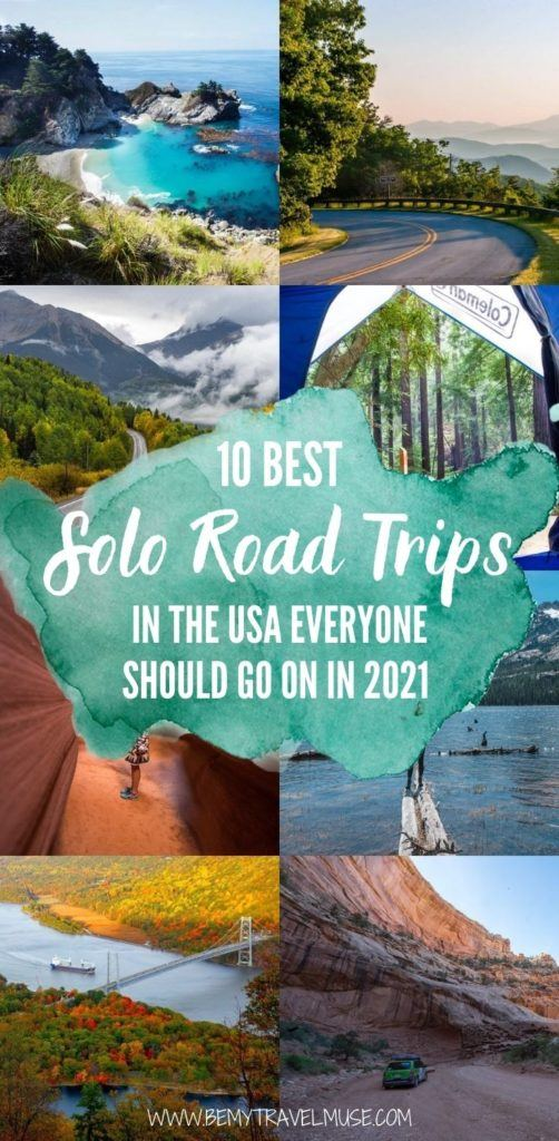 Where are the best places in the USA for a solo road trip? On this list, we will take you on 10 of the best solo road trips in the USA that we think everyone should go in 2021. Click to see them now! #RoadTrips