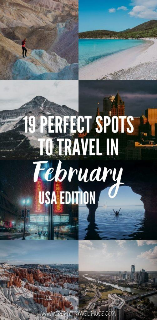19 gorgeous places in the USA that are perfect to travel in February: The winter is a wonderful time to travel in the USA, here is an awesome list of cities that offer smaller crowds, winter vibes, and unique activities that you must explore. Click to see the list now! #USA