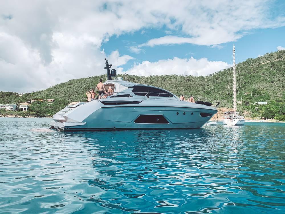 Big silver yacht docked in Hansen Bay - St John underrated beaches