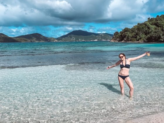 girl standing in shallow water of Brown Bay in St John USVI