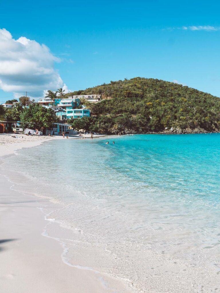 Bright blue water of Coki Beach in St Thomas USVI